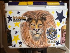 COOLERSbyU Painted Cooler Examples | SAE & Tri Delta Formal Cooler | Tags: sae, fraternity, tri delta, sorority, lion, painted cooler Fraternity Coolers, Frat Coolers, Painted Coolers, Cooler Painting, Kappa Delta, Painting Inspiration