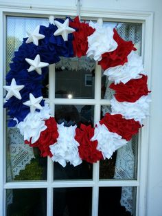 Red,  white,  and blue wreath.