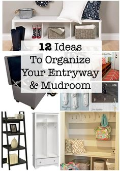 Keeping our entryways into our homes decluttered, neat, and presentable is tough! Here are 12 ideas for entryway and mudroom organization! Getting Organized At Home, Organized Mom, Entryway Organization, Life Organization, Entryway Storage, Entryway Ideas, Shoe Storage, Entryway Decor, Organizing Your Home