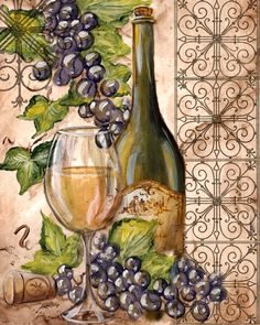 decoupage paper for kitchen Decoupage Vintage, Decoupage Paper, Vintage Diy, Wine Bottle Art, Painted Wine Bottles, Wine Painting, Wine Craft, Wine Decor, Kitchen Art