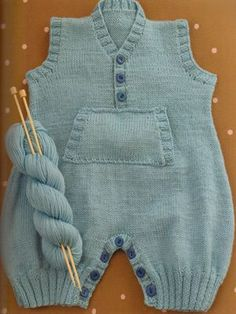 Crochet Patterns Onesie V-Neck Onesie: Kids Knitting Patterns, Knitting Stiches, Knitting For Kids, Baby Knitting, Crochet Patterns, Baby Pullover, Baby Kind, Knit Or Crochet, Baby Sweaters