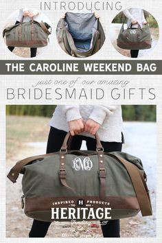 The Caroline--Lady Weekender Bag is the perfect bag to that extended getaway. The 100% cotton canvas bag features leather accents and brass hardware for a classic look.