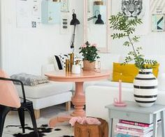love the pink table | Living Room | Pinterest