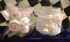 Frasquitos de comida para bebes decorados estilo shabby chic para ornamentar primer cumpleaños de niña por Sonia Hurtado