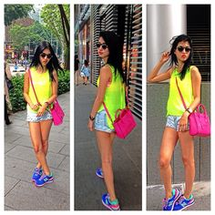 Your Outfit Today » Outfit : all neon.  Outfit: Sneakers : New Balance  Pink bag : Céline  Yellow neon top : Mojuya Boutique Denim shorts : Mojuya Boutique We love the need trend for this summer : neon colors!
