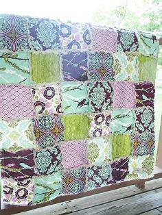 Rag Crib Quilt, Aviary 2 in lilac, purple turquoise green, Girl, ALL NATURAL, fresh modern handmade baby. $125.00, via Etsy.