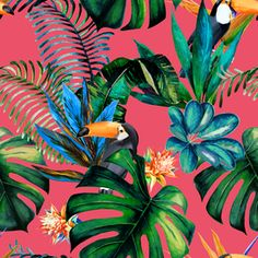 Spring/Summer 2020 Print Trend 'Bird Life' - - View Tropical Design With Birds Animals/Birds Design by KSDesigns. Available in Seamless Repeat Royalty-Free. Tropical Flowers, Art Tropical, Tropical Design, Tropical Pattern, Tropical Birds, Blooming Flowers, Tropical Prints, Tropical Animals, Jungle Pattern