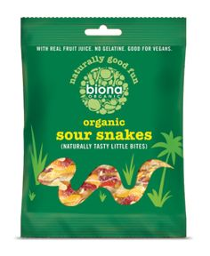 Sour snake jelly sweets from Biona made from Certified Organic and natural ingredients and brimming with delicious flavour…a fantastic treat for both. Dried Bananas, Dried Blueberries, Dried Apples, Sin Gluten, Gluten Free, Dairy Free, Apple Acid, Shopping, Bonbon