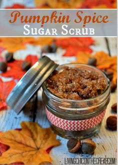 Make Your Own Pumpkin Spice Sugar Scrub! This is such a quick easy and inexpensive recipe. This scrub is perfect for fall. You can make your own scrubs for pennies on the dollar and they make FABULOUS Homemade gifts!