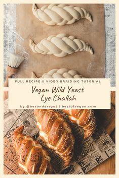 Vegan Wild Yeast Lye Challah - Get the full recipe and video braiding tutorial as well as an alternative without lye right here. Nutella Bread, Vegan Bread, Baking Garlic Bread, Homemade Bread Without Yeast, Homemade Breads, Bagel Bread, Bread Food, Sicilian Recipes, Sicilian Food