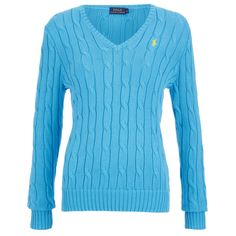 Polo Ralph Lauren Women's Kimberly Jumper - Turquoise (230 CAD) ❤ liked on Polyvore featuring tops, sweaters, chunky cable knit sweater, chunky sweater, v neck sweater, cable knit sweater y blue sweater
