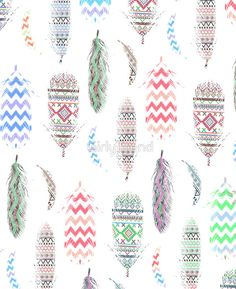 Feathers Pink Tribal Aztec Teal Chevron Pattern by GirlyTrend