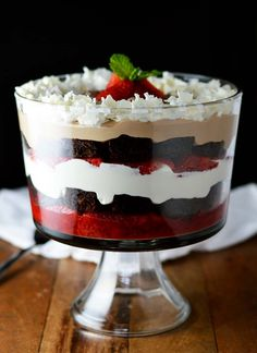 Chocolate Covered Strawberry Brownie Trifle. Be warned, you may eat it all.