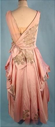 c. 1916 Pink Silk L.P. HOLLANDER & CO. New York Evening Gown with Gold Metallic Printed Design