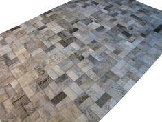 LIFESTYLE by Cara -- Grey Brindle Custom Cowhide Patchwork Rug Cow Hide Leather Hairhide Carpet via Etsy