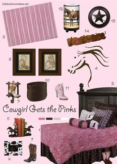 New take on a cowgirl room full of pinks, horses and boots. (Because what girl doesn't love horses and shoes?) Click through for more about the different items.