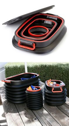 Collapsible nesting storage bins // genius... I could really use these! #product_design