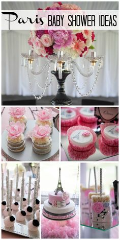 So many gorgeous details at this French Paris pink baby shower with flowers, decorations and a stunning cake! See more party ideas at CatchMyParty.com!