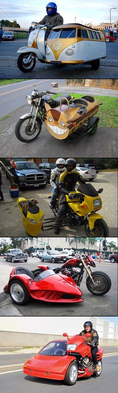 Well now that's different! These are some of the most customized sidecars that I have ever seen. Hope their insurance covers this much modification, you know... just in case.