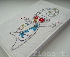 embroidered zombie lemur notebook - Folksy