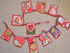 Vintage Valentine Garland If only I could use my Mercury glass beads.  Maybe wooden beads instead?
