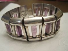 "ANTONIO PINEDA ""970"" SILVER BRACELET With AMETHYSTS Hinged Links $800. 9/13"