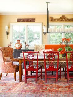 orange and red dining rooms | Burning, Bold Details: Orange and Red Rooms