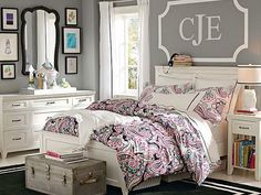 Small teenage girl bedroom interior with gray wall paint colors