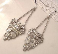 1920s Art Deco Clear Rhinestone Flapper Dangle Earrings, Vintage Heirloom Fur Clips to OOAK Long Drop Earrings Gatsby Sterling Silver Bridal
