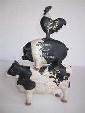 French Country Rooster Statue Figurine Home sweet home pig cow piggy back
