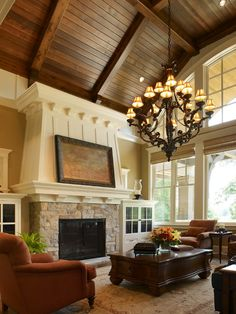 Home Interior Decorative Accents for Warmer Atmosphere: Cozy Traditional Living Room Great Chandelier Wayzata Home