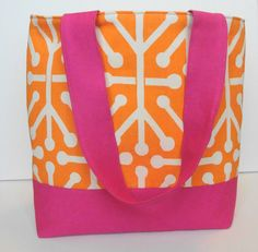 Modern Summer Orange and Bright Pink Tote by WrapItUpByG on Etsy, $29.00