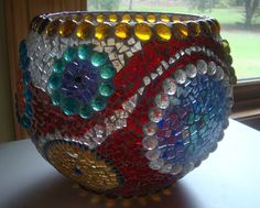 Bowl of Many Colors Stained Glass Mosaic by zzbob on Etsy, $288.00