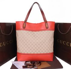 Gucci Laidback Crafty Canvas Tote Bag 338999 Light Red