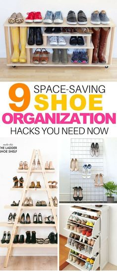 These 9 Space-Saving Shoe Hacks Are Perfect for Small Spaces! #shoes #organize #closethacks #hacks #organization