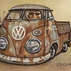"""repost via @instarepost20 from @doncokerart Here's a little 6""""x8"""" Vdub oil on canvas completed a few years ago. Private collection. #volkswagon #petina #vdubsociety @hotvwmagazine #instarepost20"""