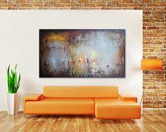 Extra grote abstracte schilderkunst, XXL-linnendoek Art. Hand gemaakt, Seascape Contemporary Painting, abstracte kunst, woonkamer Wall Art, olieverfschilderij