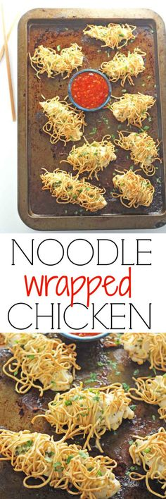 Make mealtimes fun with this twist on a chicken noodle dinner. Chicken fillets marinated in garlic and herbs, wrapped in egg noodles and baked until crispy | My Fussy Eater