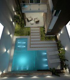 What a beautiful little backyard! Backyard Pool Designs, Small Backyard Pools, Small Pools, Swimming Pools Backyard, Swimming Pool Designs, Garden Pool, Backyard Landscaping, Swimming Pool Lights, Piscine Diy