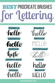 This Procreate Lettering bundle comes with 10 lettering brushes, grid brushes, 3 practice pages, color palettes, and textures to make your lettering look amazing. #procreatelettering Lettering Guide, Lettering Tutorial, Brush Lettering, Hand Lettering Styles, Lettering Ideas, Cheesy Lines, Ipad Art, Copics, Color Palettes