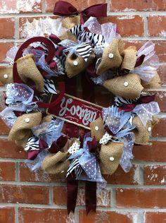 Custom School/Team/Gameday Burlap or Mesh Ribbon Wreath with Add-ons. $75.00, via Etsy.