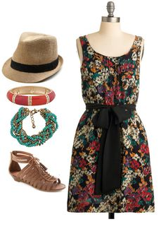 Summer florals. Putting a summer twist on a floral dress that could be easily paired with tights and a cardigan for the fall/winter. Everything from ModCloth.com except for the bracelets that are from Forever21.