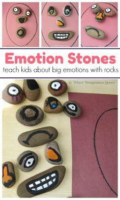 Build-a-Face Story Stones for Teaching Emotions to Kids! A fun learning activity that helps preschoolers and toddlers learn about emotions and how to handle those big emotions. learning activities at home teaching Emotions Preschool, Teaching Emotions, Emotions Activities, Preschool Learning Activities, Preschool At Home, Infant Activities, Toddler Preschool, Fun Learning, Teaching Kids