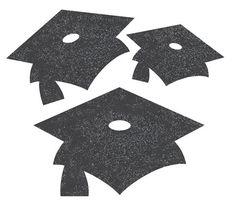 Pack of 12 black glitter graduation cap cut-outs.