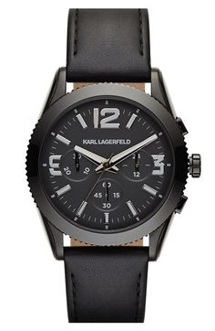 KARL LAGERFELD 'Kurator' Chronograph Leather Strap Watch, 42mm available at #Nordstrom