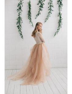 A-linie Modische Glamouröse Brautkleider aus Tüll mit Schleppe