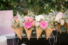 Floral ice cream cones from a Garden Spa Treat Yourself Birthday Party on Karas Party Ideas 22 50th Birthday Party Decorations, Party Centerpieces, 3rd Birthday Parties, It's Your Birthday, Unique Centerpieces, Ice Cream Theme, Ice Cream Party, Flower Power, Ice Cream Social