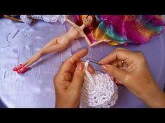 Barbie -noiva vestido de crochê com flores de Organza - YouTube