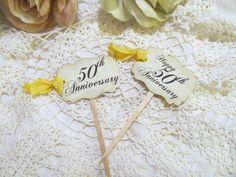 Golden Anniversary Cupcake Picks