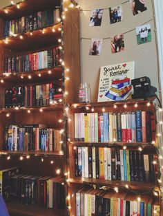 Would love to string fairy lights throughout my bookshelves, but with as many shelves I have, it might get a little expensive. Bookshelf Inspiration, Room Inspiration, Dream Library, Future Library, Home Libraries, Room Goals, Book Aesthetic, Aesthetic Bedroom, Book Nooks